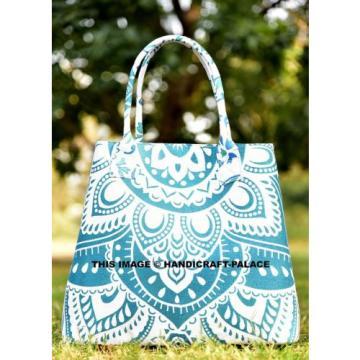 Women Mandala Ombre Beach Shopping Purse Cotton Bag Designer Large Tote Bag