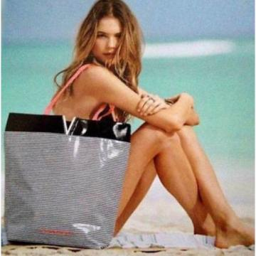 Victoria's Secret St.Barth's Black White Stripes Pink Handle Beach Tote Bag
