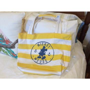 Original Walt Disney Tote Yellow And White Striped Beach Bag