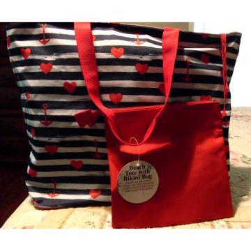NWT Tri-Coastal Design Beach Tote w/Bikini Bag Anchors & Hearts Beach Bag