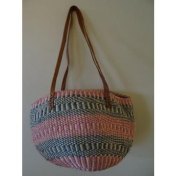 Vintage Large Woven Jute Leather Bag Boho Tote Shoulder Beach Basket Purse LARGE
