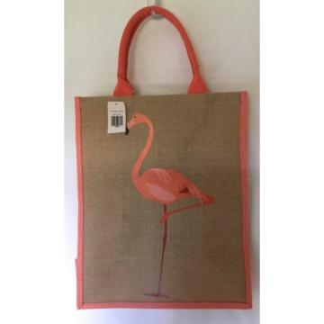 "New FLAMINGO BEACH BAG TOTE Tan Coral Salmon Color 16"" T X 13"" W X 7"" D Beach"