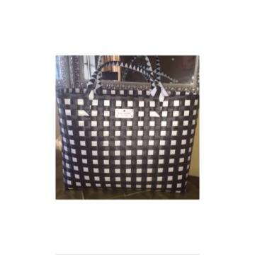 KATE SPADE NEW YORK Shopper Beach Shoulder Black White Checkered Tote Bag