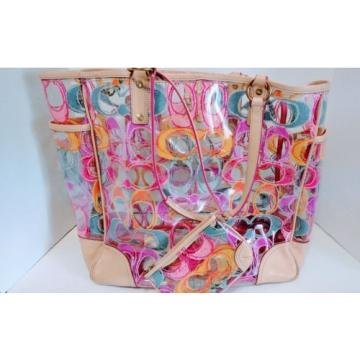 Coach Clear PVC Multi Color scribble XL Beach Tote Bag & Matching Wristlet 22513
