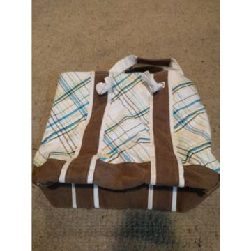 Womens/Girls Kirra Striped White & Brown Beach/Travel Tote Bag/Purse