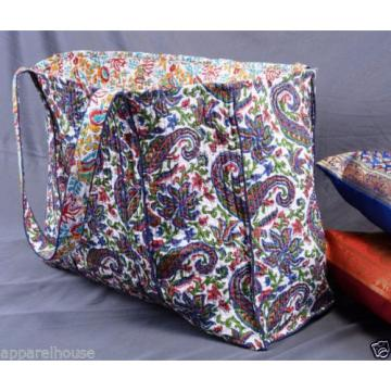 Indian Cotton Quilted Paisley Print Bag Reversible Large Beach Bag Hippie Purse