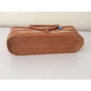 Folk Art Women Bag Natural Sisal cat pet love Beach Tote Vtg Handbag Craft Purse