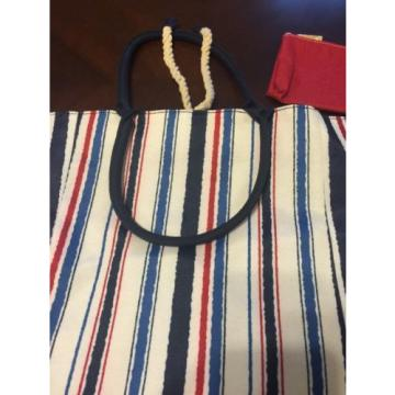 NEW Red White Blue Striped Beach Bag With Bonus Red Coin Purse