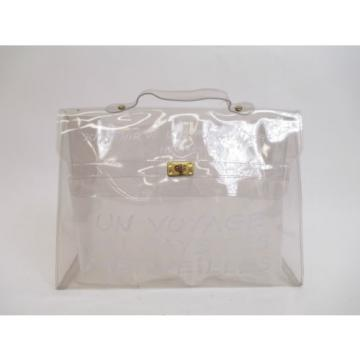 Authentic Hermes Clear Vinyl Kelly Beach Hand Bag Briefcase #5810