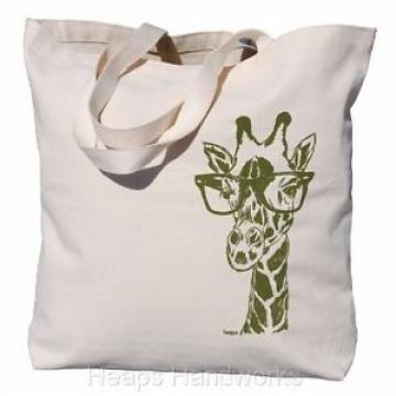 Travel Tote Bag - Beach Market Cotton Handbag - Olive Giraffe with Glasses NEW