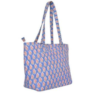 "Blue Cotton Block Print Tote Bag 14""x20"" Shopper Market Beach Accessory India"