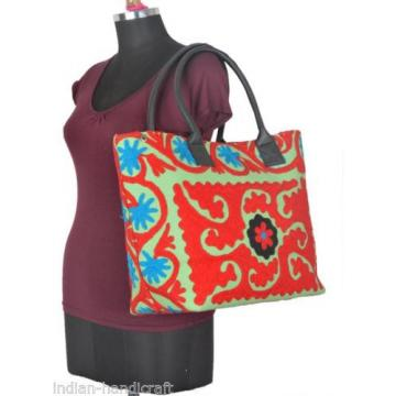 Lightgreen Suzani Embroidery Bag Womens Shopping Beach Tote BU30
