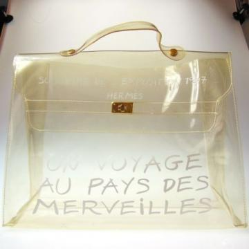 Authentic HERMES Vinyl KELLY Beach Hand Bag SOUVENIR DE L'EXPOSITION 1997 #389