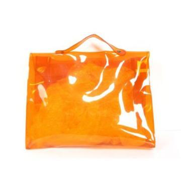 Auth HERMES Vinyl Kelly Beach Summer Hand Bag 1998 Limited Orange D702