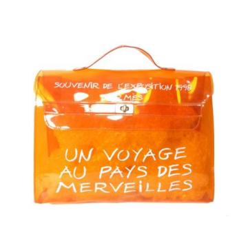 Auth HERMES Vinyl Kelly Beach Summer Hand Bag 1998 Limited Orange D823