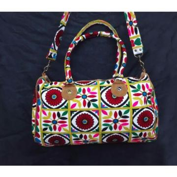 Red Flower Handmade Beach Tote Bag Indian Embroidered carry fashionable bag.