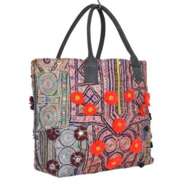 Vintage Banjara Tote Leather Handle Bag Beach Market Accessory Id-15038