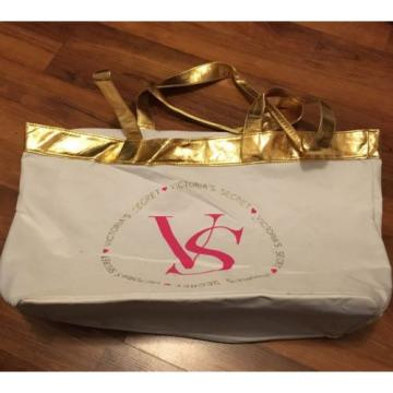 Victorias Secret VS White Gold & Pink Beach Tote Bag Gold HOPE Puppy Large Sack
