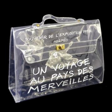 Authentic HERMES KELLY VINYL Beach Hand Bag SOUVENIR DE L'EXPOSITION 1997 V02755