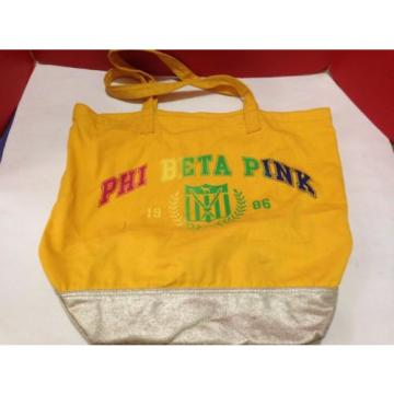 VICTORIA'S SECRET Phi Beta Pink Yellow Cotton Canvas TOTE BAG large 4 GYM BEACH