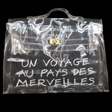 Authentic HERMES Kelly Beach Hand Bag SOUVENIR DE L'EXPOSITION Vinyl 1997 A20731