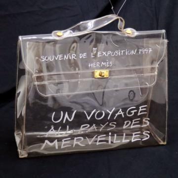 Auth HERMES Kelly Beach Hand Bag SOUVENIR DE L'EXPOSITION Vinyl 1997 VTG V09420