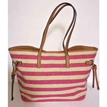 APT 9 Pink and Khaki Striped Linen Summer Beach Bag Shoulder Bag Tote NWOT