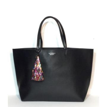 Victoria Secret Black Large Rainbow Tassel Tote Beach Gym Bag X-large New