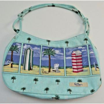 Paul Brent Sky Blue Cabanas Beach Palm Trees hobo Purse bag Beach Cruise