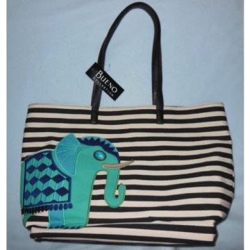 Bueno Beach Bag Tote Purse Black/Tan Stripe with Turquoise Elephant NWT