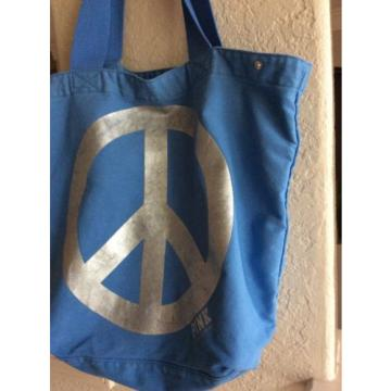 Victoria's Secret PINK Large Blue Silver Tote Bag Peace Sign Beach Bag