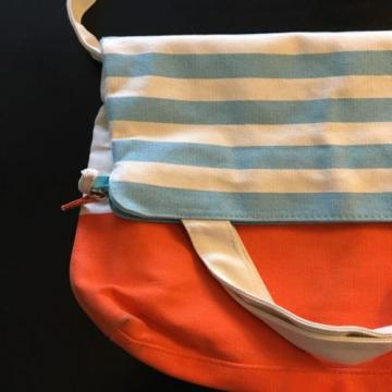 PUREOLOGY Canvas Tote Bag Shopper Carry All Beach Orange Ivory Blue Stripe