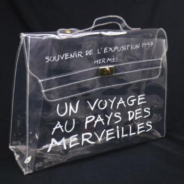 Authentic HERMES KELLY VINYL Beach Hand Bag SOUVENIR DE L'EXPOSITION 1997 V14394