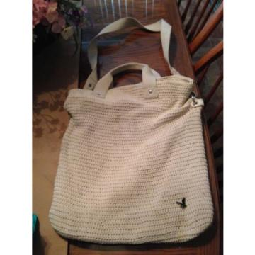 Off White beige Crochet Purse 19x15 tote lined American Eagle beach hand bag euc