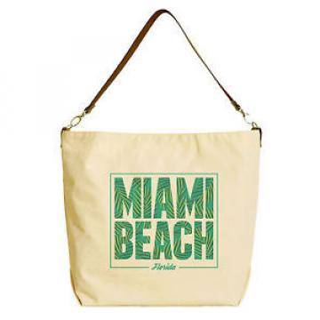 Miami Beach Beige Printed Canvas Tote Bag with Leather Strap WAS_29