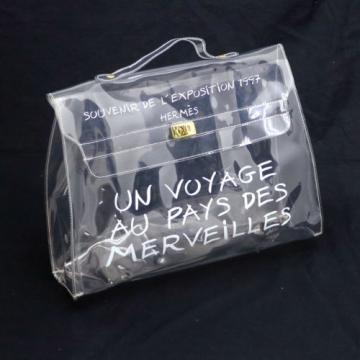 Auth HERMES KELLY Beach Hand Bag SOUVENIR DE L'EXPOSITION 1997 Vinyl VTG V09465