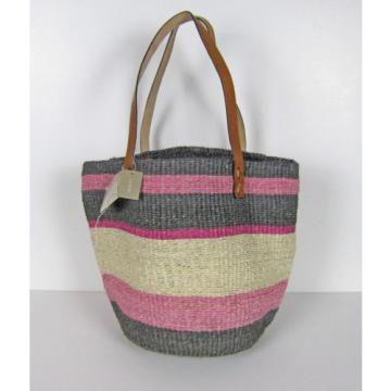 NWT J Crew Bamboula ltd. Beach Bag Purse Gray Pink Natural Sisal Tote A4291