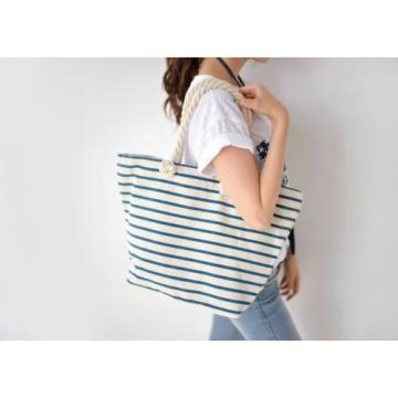 Marine Stripe Canvas Shopper Beach Shoulder Tote Bag Handbag Large Casual Women