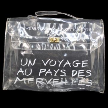 Authentic HERMES Kelly Beach Hand Bag SOUVENIR DE L'EXPOSITION Vinyl 1997 B28356