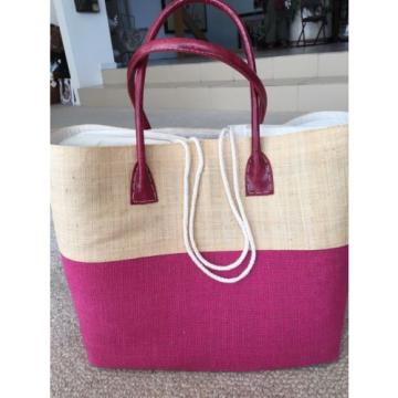 LARGE JUTE FUCHSIA HOT PINK TOTE PURSE BEACH GROCERY BAG NWT