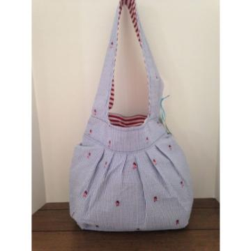 BLUE WHITE STRIPE SEERSUCKER REVERSIBLE NAUTICAL TOTE SHOPPER, BEACH BAG NWT