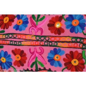 Pink Suzani Embroidery Tote Bag Womens Cross body Shopping Beach Jhola AQ5