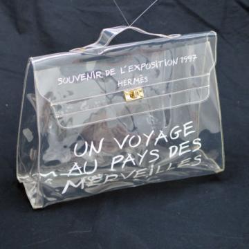 Auth HERMES Kelly Beach Hand Bag SOUVENIR DE L'EXPOSITION Vinyl 1997 V12319