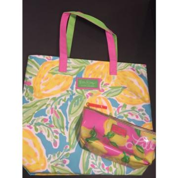 Lilly Pulitzer For Estee Lauder Pink Yellow Lemon Pattern Beach Tote Makeup Bag