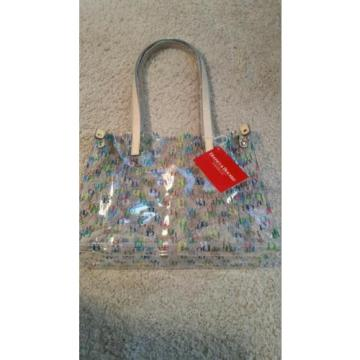 Dooney & Bourke Clear Medium IT Collection all over DB Logo Tote beach bag NWT