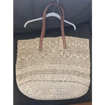 Merona Women's Soft Straw Tote Handbag - Natural Beach Bag NEW