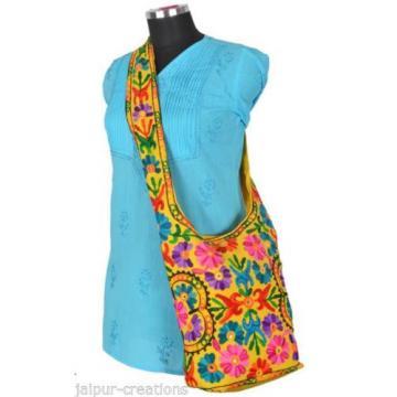 Yellow Suzani Embroidery Tote Bag Womens Cross body Shopping Beach Jhola AQ8
