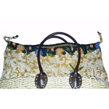 SKEMO - BEACH BAG/PURSE - Wicker, Braided, Floral Lining, Leather Handles NWOT