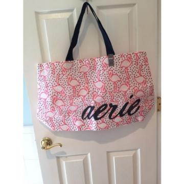 Aerie Tote Shopper Beach Bag Plastic Mesh FLAMINGOS Large 24x14x7