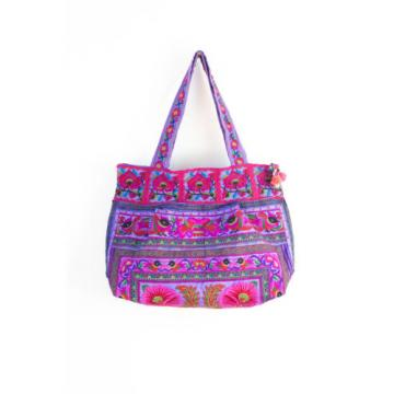 Beautiful Flower Boho Beach Tote Bag Thai Hmong Embroidered Fabric in Purple